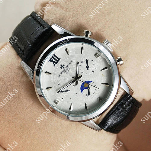 Стильные наручные часы Vacheron Constantin Geneve 8221-2 Silver/White 2418
