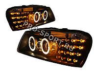 """Тюнинг фары Hyundai Accent  1999-2005, Tagaz в черном корпусе, с линзой, с """"ангельскими глазками"""" H7/H3"""