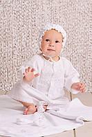 Набор крестильный для мальчика - рубашка, пинетки, шапочка, мешочек для волос. Размеры 68 (6 мес). Цвет белый.