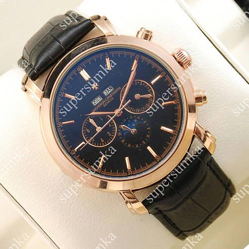 Стильные наручные часы Vacheron Constantin Day phase Geneve Gold/Black 2427