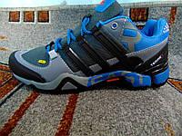 Мужские туристические кроссовки Adidas Terrex серые с синим
