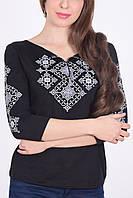 Традиционная женская вышиванка рукав 3/4 на каждый день с этническим орнаментом