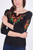 Традиционная женская футболка вышиванка с длинным рукавом маки