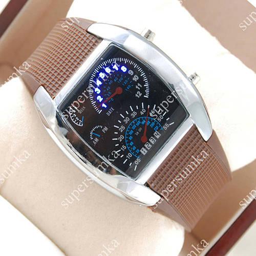 Молодежные наручные часы Спидометр Led Street Racer Brown 2703