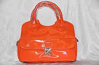 Сумка женская молодежная небольшая лаковая оранжевая