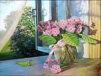 """Рисунок на ткани для вышивания бисером """"Окно в сад"""""""