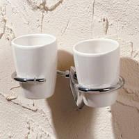 Стакан керамический двойной навесной для зубных щеток Napoli
