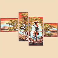 """Рисунок на ткани для вышивания бисером """"Африка, полиптих из 4 частей"""""""