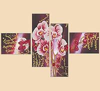 """Рисунок на ткани для вышивания бисером """"Дикая орхидея, полиптих из 4 частей"""""""