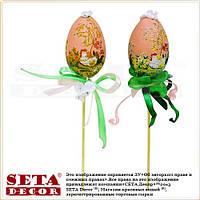 Пасхальный декор яйцо пасхальное на палочке с бантиком розовое
