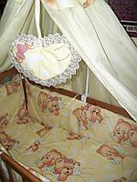 """Постельный набор в детскую кроватку """"Мишульки спят крупные"""" песочный 8 эл."""