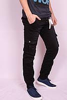 Мужские молодежные джинсы на манжете с накладными карманами