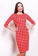 Женское красное платье в клетку трикотажное до колен