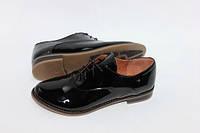 Женские туфли на шнурках, натуральная кожа лак