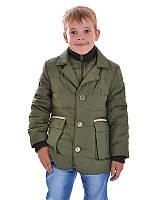 Куртка-жакет демисезонная для мальчика на синтепоне с вельветовыми вставками (синяя)