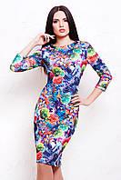 Шикарное женское платье стеганное с цветочным принтом