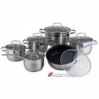 Набор посуды из нержавеющей стали Kamille (4027S) 12 пр