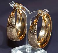 Серьги-кольца с рисунком,большие ,позолота 18 к