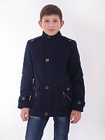 Подростковое  кашемировое пальто для мальчика на пуговках (темно синее)