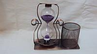 Песочные часы металлические с подставкой для ручек размер 15*15
