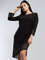 Платье женское Свободное с оригинальной отделкой чёрное