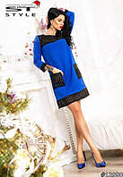 Платье женское Стильное с накладными карманами электрик