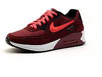 Кроссовки кожаные унисекс Nike Air Max бордовые, фото 1