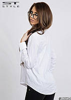 Блузка стильная Двойная воротник бант белая