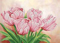"""Рисунок на ткани для вышивания бисером """"Розовые цветы весны"""""""