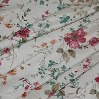 Декор сатен олиса цветы крупные бордо, фон молочный