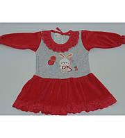 Платье  велюровое на девочку  0-1 лет