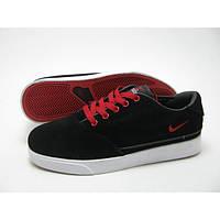 Кроссовки мужские Nike Pepper черные с красно-белым в замше