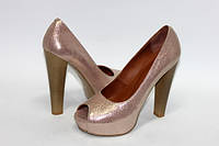 Женские туфли с открытым носком на высоком каблуке, натуральная кожа