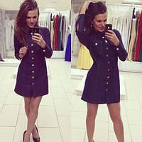 Женское красивое джинсовое платье на пуговицах
