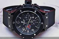 Кварцевые часы Hublot мужские черные каучуковые Big Bang