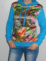 Толстовка женская с принтом тигра с капюшоном Blue World Турция  рр. 44-48