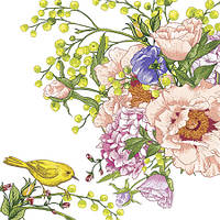 Салфетка декупажная Цветы и жёлтая птица на ветке 5578