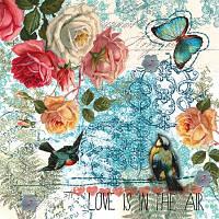 Салфетка декупажная Розы, птицы и бабочка 5579