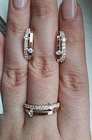 Серебряные серьги, кольца с золотыми пластинами
