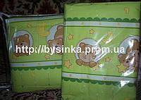 """Бампер и комплект постельки в детскую кроватку -""""Зеленые мишки в кружочек"""""""
