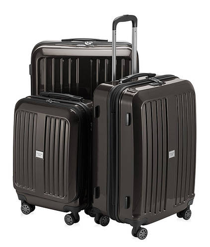 Набор пластиковых чемоданов для путешествия HAUPTSTADTKOFFER xberg set graphite графитовый