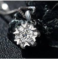 Подвеска Цветочек циркон фианиты на цепочке покрытие 925 серебро проба