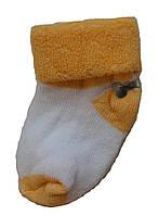 Махровые носки для новорожденных  цвет белый/оранжевый