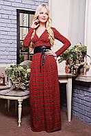 Роскошное женское платье в пол   IR Клетка (длинная)  цвета: синий+красный | бежевый | белый | красный