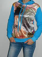 Толстовка женская с принтом и капюшоном Blue World Турция  рр. 44-48