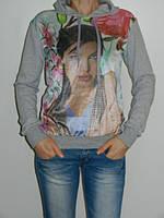 Толстовка женская с принтом и капюшоном серая Blue World Турция  рр. 44-48