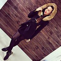 Женское теплое пальто на синтепоне с отстегивающимся капюшоном АБ 0302