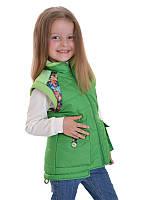 Жилетка детская весенняя для девочки без рукавов зеленая