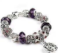 Браслет в стиле Пандора LOVE с фиолетовыми бусинами