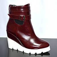 Стильные кожаные бордовые ботинки на платформе. Зимний вариант, фото 1
